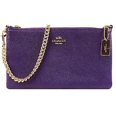 COACH 馬車防刮皮革鍊帶斜背包(紫)