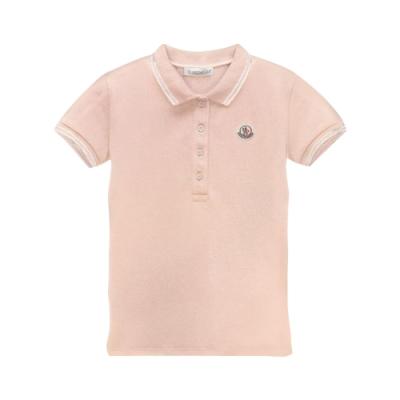 MONCLER 童裝 淺粉棉質短袖polo衫