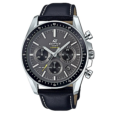 EDIFICE簡約新時尚沉穩設計藍寶石鏡面皮帶指針錶(EFB-570L-1A)-44.7m
