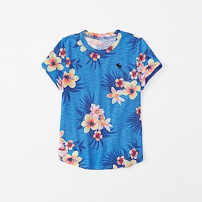 麋鹿 AF A&F 經典電繡小鹿夏日風情短袖T恤(女青年款)-水藍色