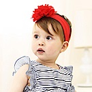 Baby unicorn 紅色雪紡大花朵髮帶