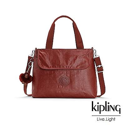 Kipling 雅緻紅褐素面前翻蓋手提側背包-ENORA