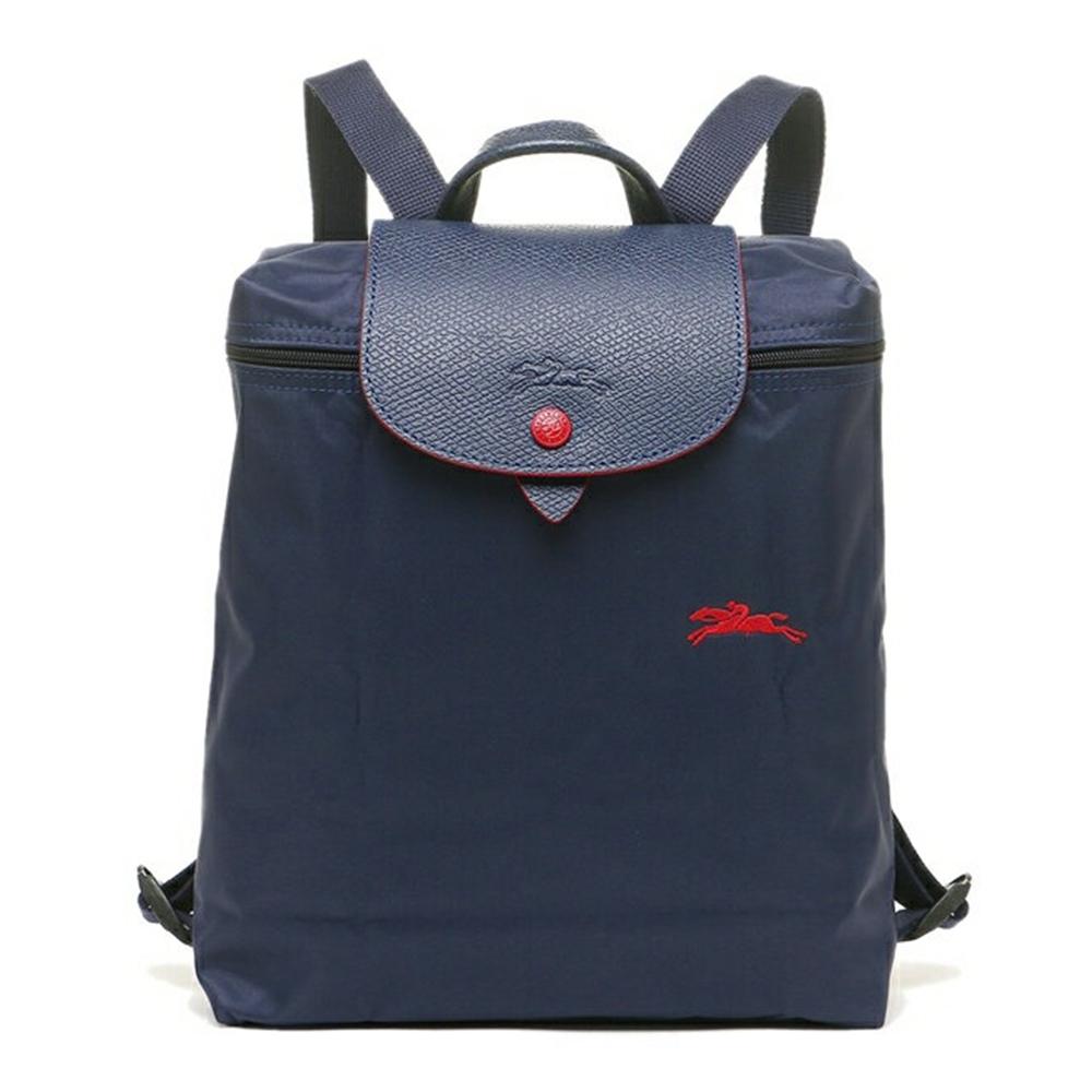 LONGCHAMP Le Pliage系列經典刺繡LOGO 尼龍折疊後背包 海軍藍