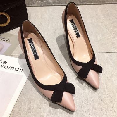 KEITH-WILL時尚鞋館 大氣歐美風格蝴蝶結跟鞋-粉