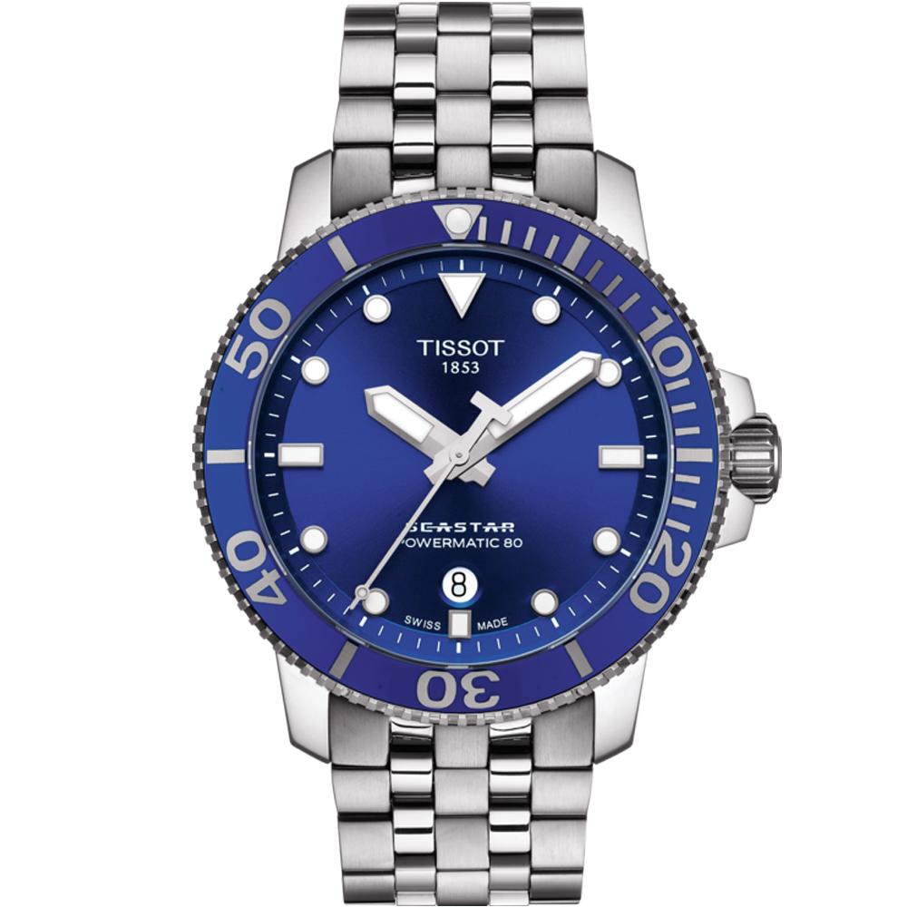 TISSOT Seastar 海星系列潛水機械錶(T1204071104100)藍