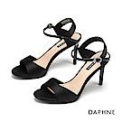 達芙妮DAPHNE 涼鞋-優雅鍛布閃耀水鑽一字帶高跟涼鞋-黑色