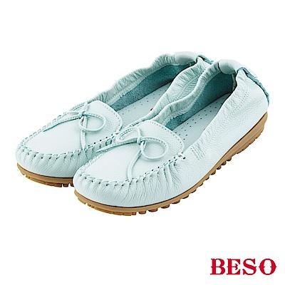 BESO 棉花糖女孩 蝴蝶結鬆緊帶全真皮莫卡辛鞋~淺藍