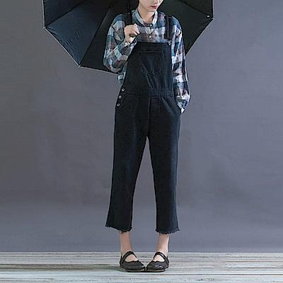 寬鬆牛仔背帶連身褲顯瘦九分褲-K1744-設計所在