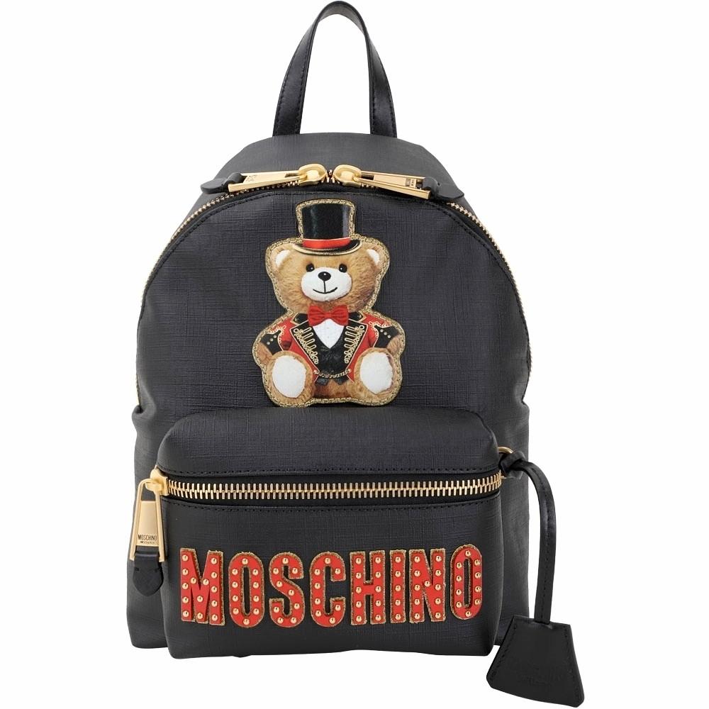MOSCHINO 馬戲團泰迪熊補丁圖騰後背包(黑色)
