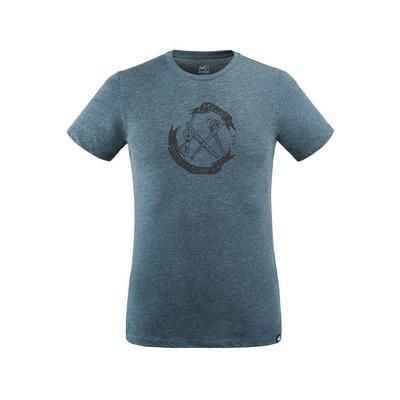 MILLET 男 OLD GEAR 有機棉短袖排汗衣 靛藍-MIV86688737