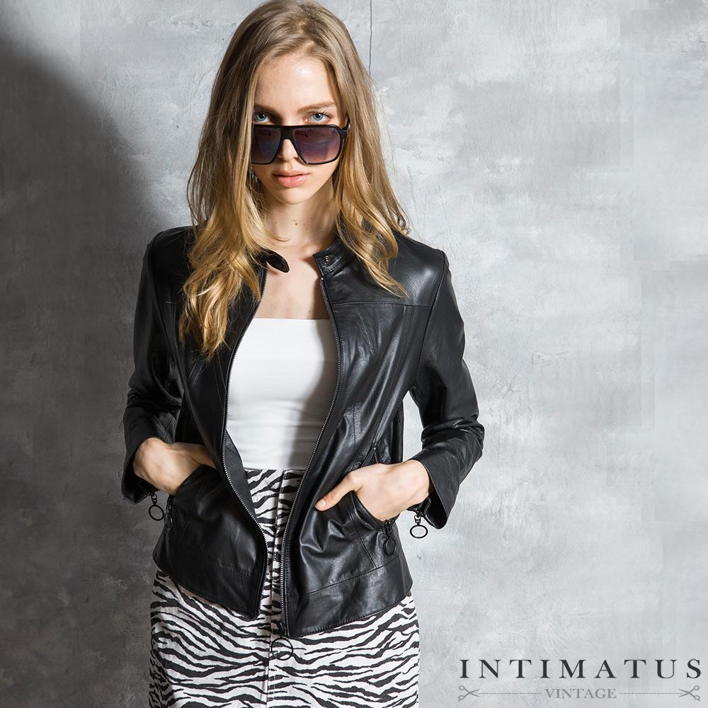 INTIMATUS 真皮 簡約立領設計修身短版羊皮皮衣 經典黑