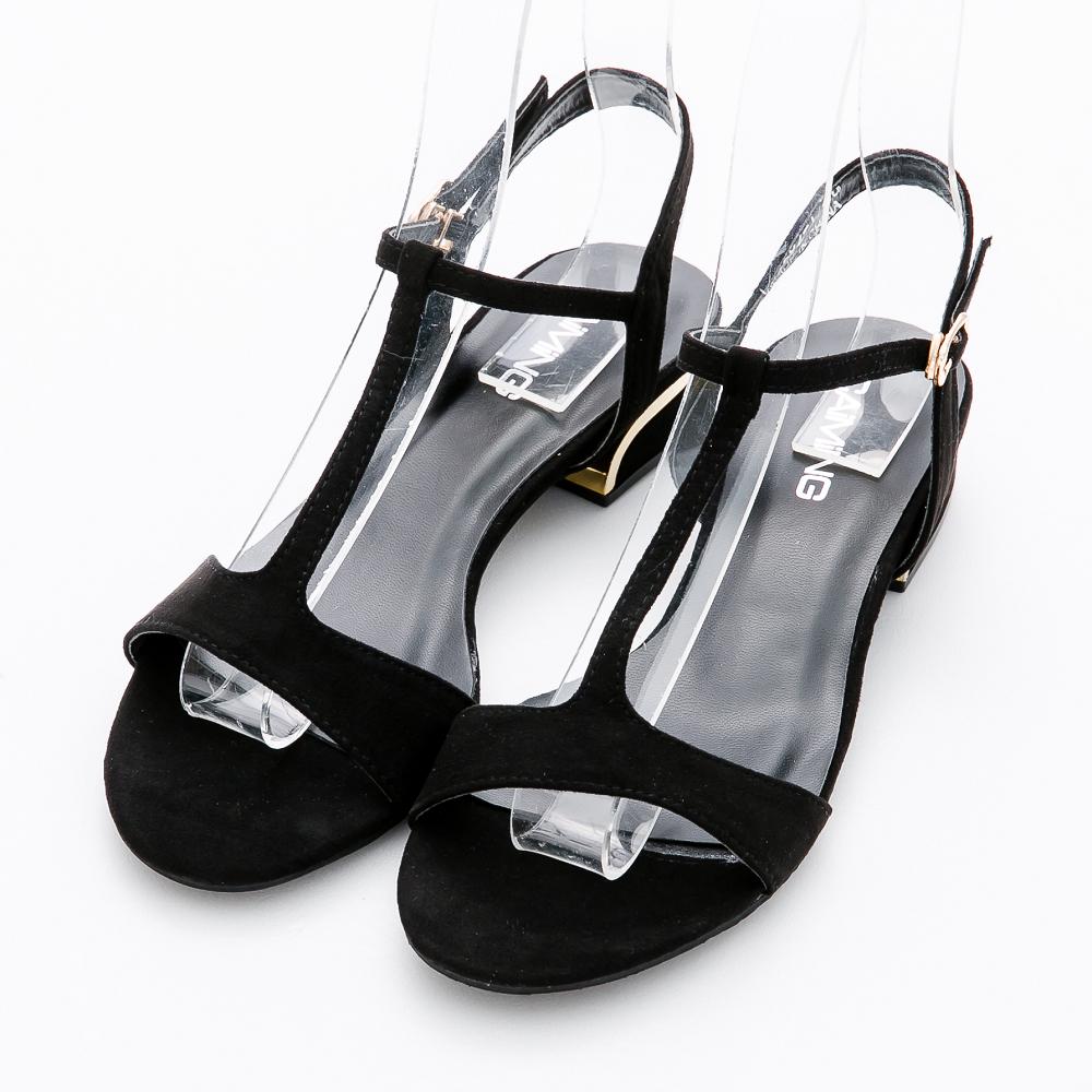 River&Moon涼鞋-摩登細絨T字線條粗方跟涼鞋-黑