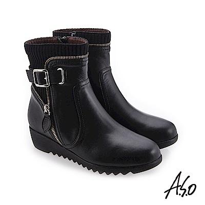 A.S.O 襪套式設計 外側拉鍊裝飾休閒短靴 黑