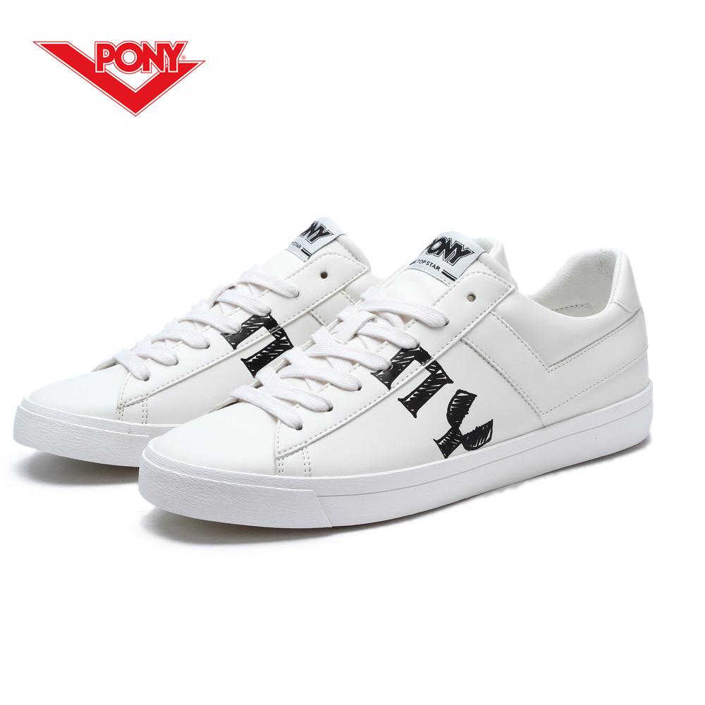 【PONY】TOP STAR系列-個性塗鴉復古鞋款-男-白