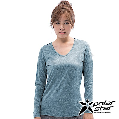 PolarStar 女 遠紅外線V領保暖衣『灰藍』 P18228