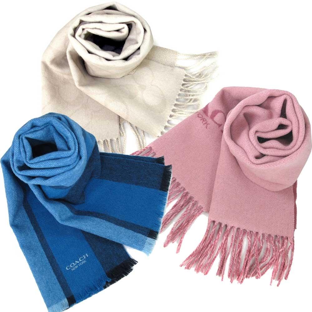 COACH 品牌Logo男女皆宜保暖羊毛圍巾(183cm-多款)