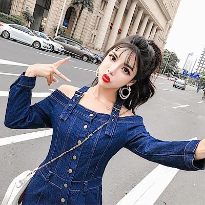 DABI 韓系一字領學生連身褲牛仔長褲套裝長袖褲裝