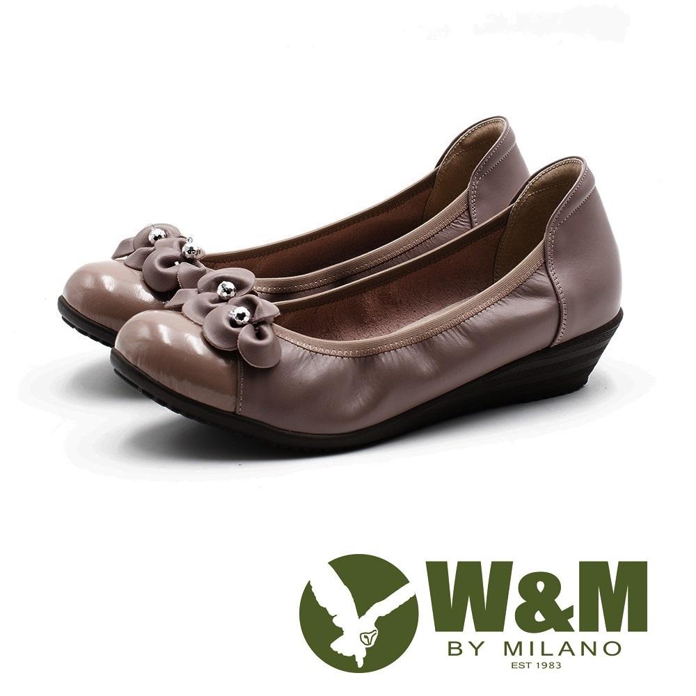 W&M 淑女水鑽 彈力帶牛皮低跟鞋 女鞋-粉(另有黑)
