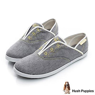 Hush Puppies 托斯卡尼咖啡紗懶人帆布鞋-深灰