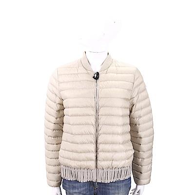 MONCLER 荷葉襬米色絎縫羽絨服飛行員夾克(女款)