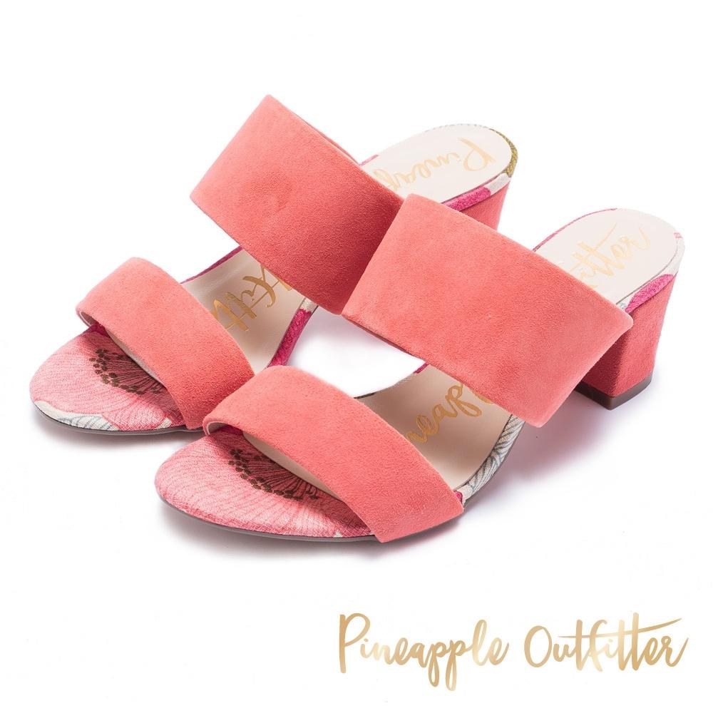 Pineapple Outfitter-寬版二字帶高跟拖鞋-絨粉