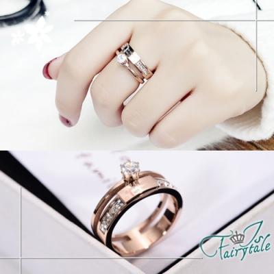 iSFairytale伊飾童話 閃耀密碼 雙層鈦鋼碎鑽戒指 尺寸可選