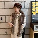 2F韓衣-韓系排扣造型雙口袋背心-新-2色F