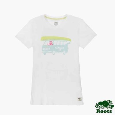 女裝Roots 海貍開車短袖T恤-白色