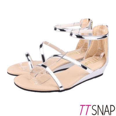 TTSNAP涼鞋-波浪緞帶簡約低跟楔型涼鞋 銀