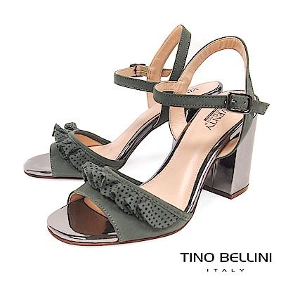 Tino Bellini 巴西進口百摺牛皮緞帶高跟涼鞋 _ 綠