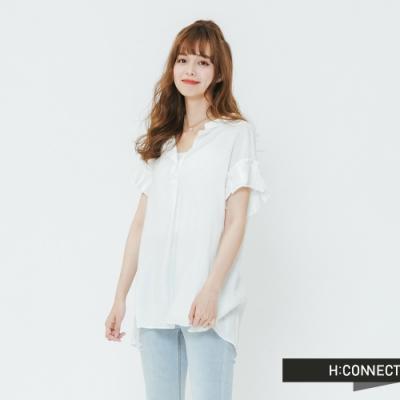 H:CONNECT 韓國品牌 女裝-百摺袖造型上衣-白