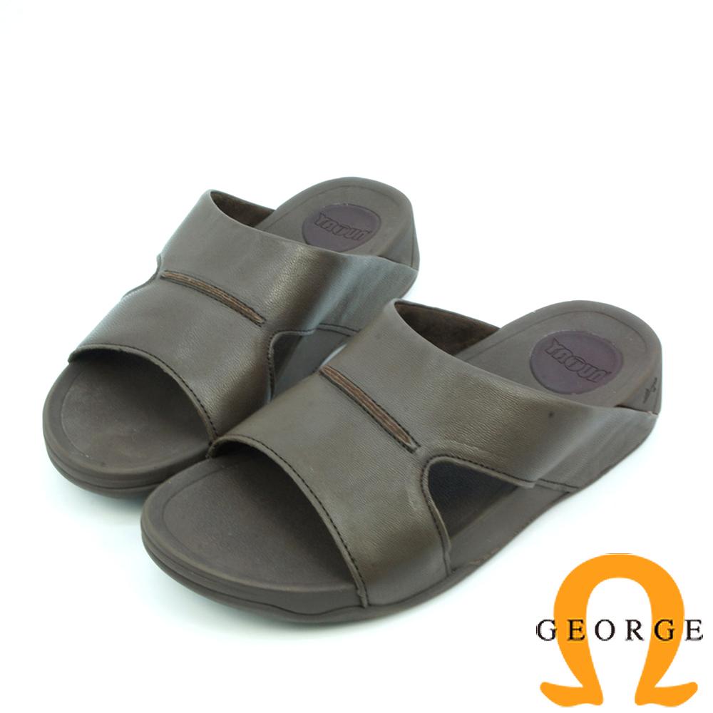 【GEORGE 喬治皮鞋】休憩系列 真皮平行涼鞋拖鞋-咖啡