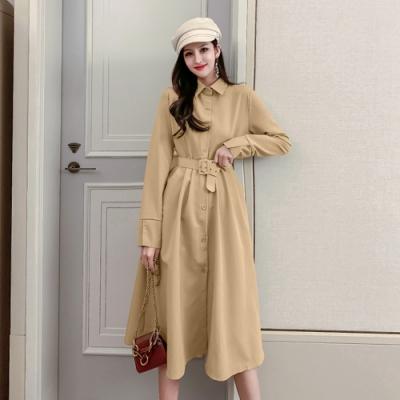 法式襯衫領復古腰帶收腰氣質連衣裙S-XL-Dorri