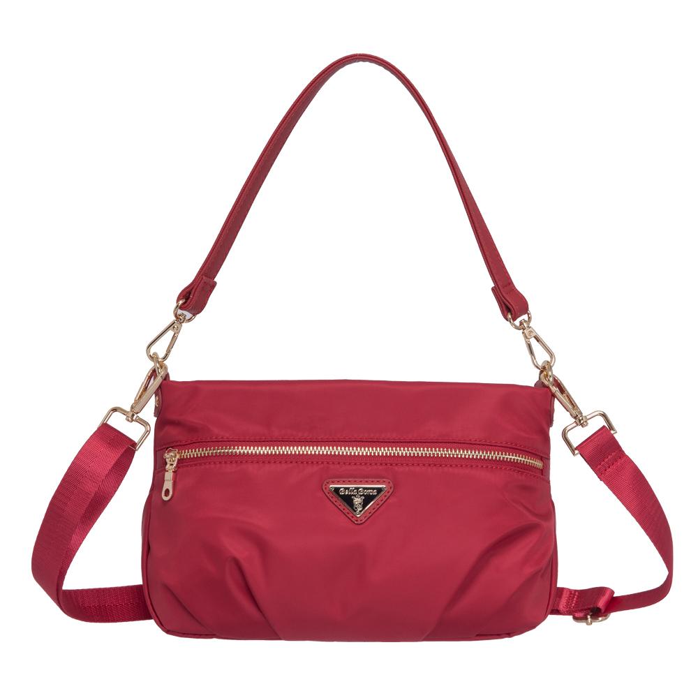 Bella Borsa 抓皺設計兩用側背包-紅 BB18A002RD