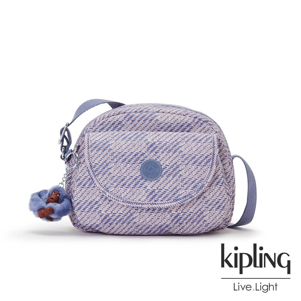 Kipling 斜紋軟呢丁香紫翻蓋側背小包-STELMA