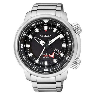 CITIZEN Eco-Drive 雙層霸氣日期顯示男錶(BJ7081-51E)-黑x銀