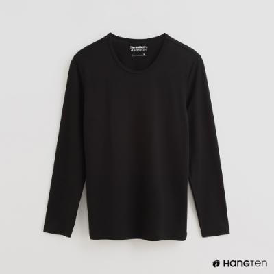 Hang Ten - 男裝 -ThermoContro-素面運動機能圓領長袖上衣-黑