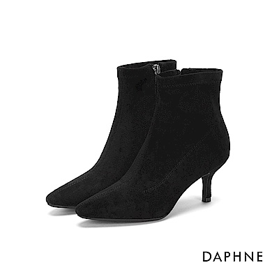達芙妮DAPHNE 短靴-絨面素色拼接高跟短靴-黑