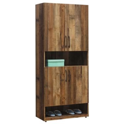 文創集 蒂斯 時尚2.8尺四門高鞋櫃/玄關櫃-83x35x184cm免組
