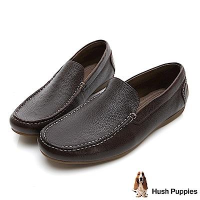 Hush Puppies SCHNAUZER 皮革質感開車鞋-深棕
