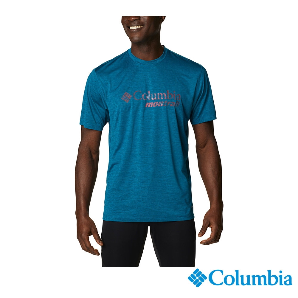 Columbia 哥倫比亞 男女 款- 野跑 UPF15 快排短袖上衣-6款 (男款 - 孔雀藍)
