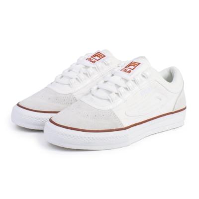 【FILA】CLASSIC BOARDER 休閒鞋 男女款 情侶鞋-米/紅(4-C331U-115)