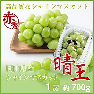 【天天果園】日本晴王麝香葡萄原裝禮盒 x700g(1串)