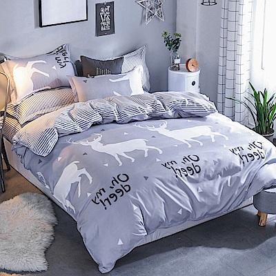 La Lune 台灣製經典超細雲絲絨單人床包枕套2件組 北歐麋鹿