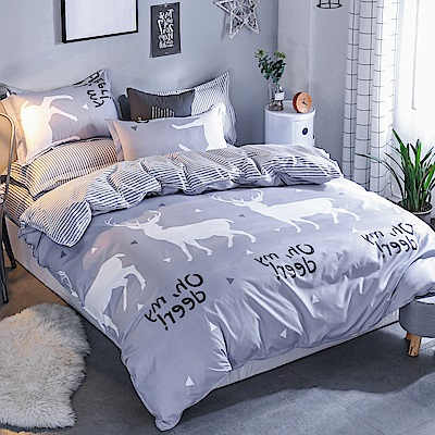 La Lune 台灣製經典超細雲絲絨雙人床包枕套3件組 北歐麋鹿