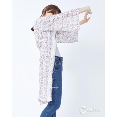 CANTWO滿版碎花拼接蕾絲開襟罩衫-二色