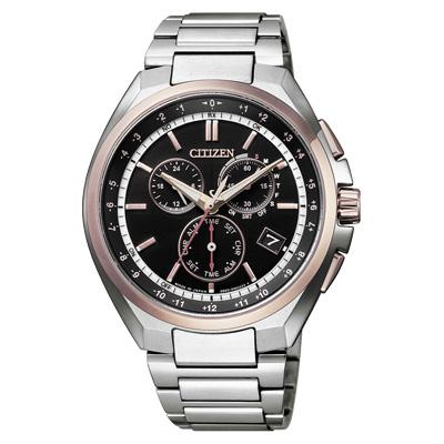 CITIZEN 光動能鈦金屬騎士魅力電波三眼腕錶-銀X玫瑰金