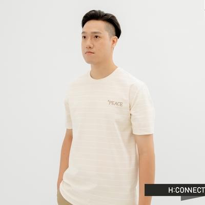 H:CONNECT 韓國品牌 男裝-活力圓領條紋英文字樣刺繡T-Shirt