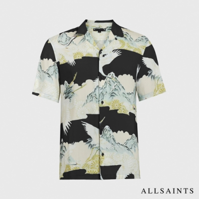 ALLSAINTS SOARING 手繪日式風格印花短袖夏威夷襯衫-烏黑