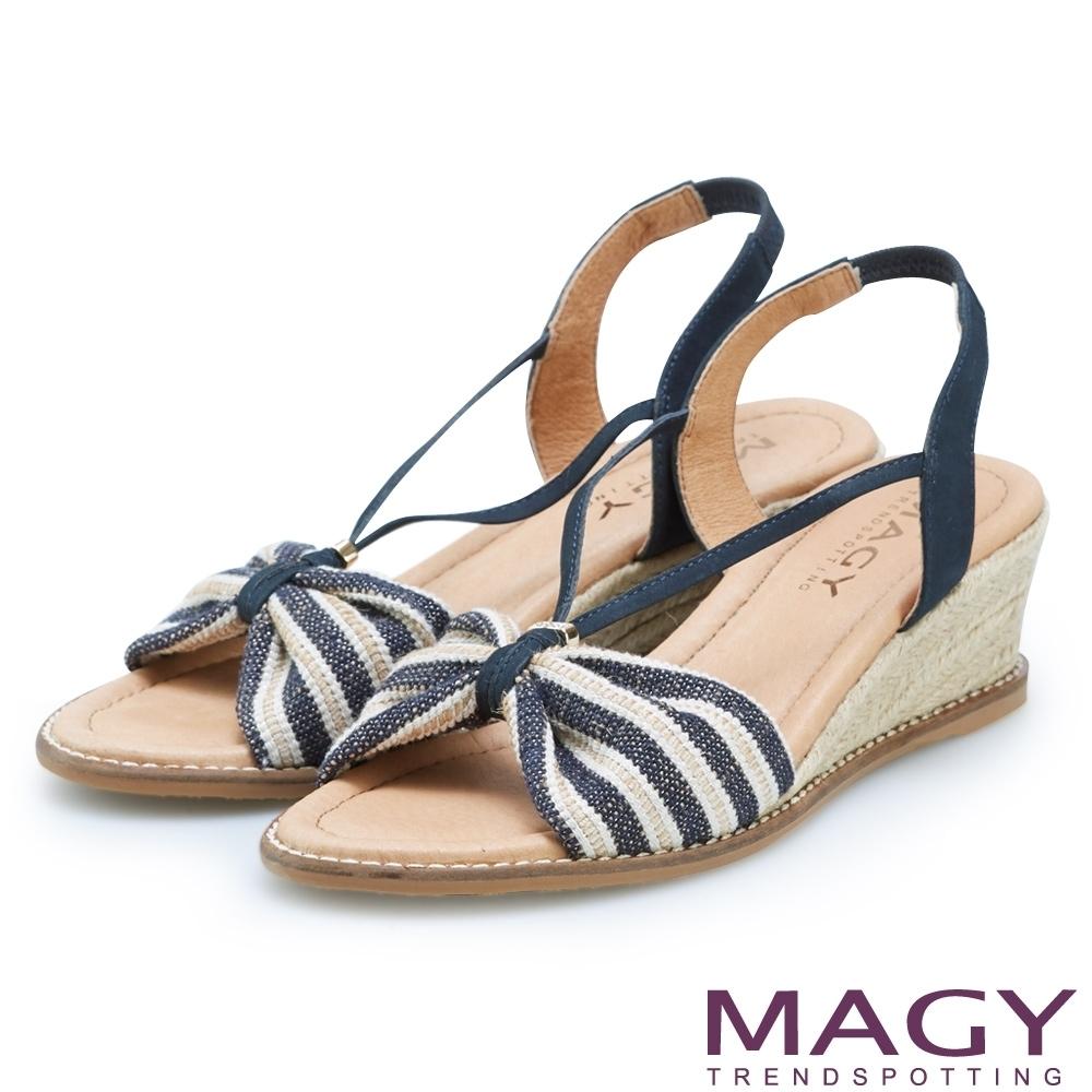 [今日限定] MAGY熱銷平底鞋均價1180 (I.條紋麻編楔型涼鞋-藍色)